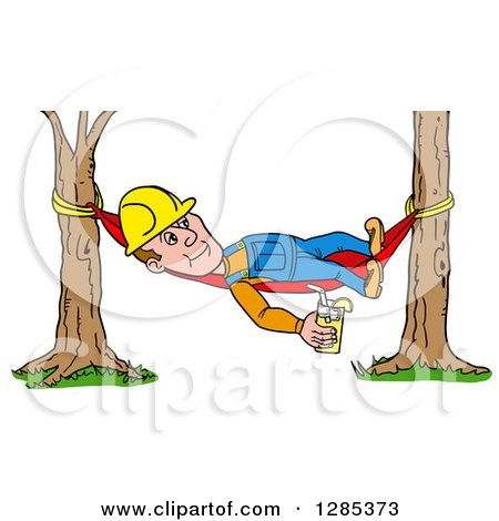 Clipart of a Cartoon Caucasian Male Craftsman Contractor Holding Lemonade and Resting on a Hammock - Royalty Free Vector Illustration by LaffToon