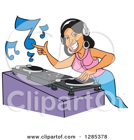 Clipart of a Cartoon Smiling Black Female Dj Mixing Records and Pointing - Royalty Free Vector Illustration by LaffToon