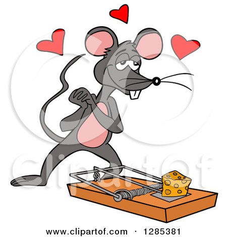 Clipart of a Cartoon Amorous Mouse Looking at Cheese on a Trap - Royalty Free Vector Illustration by LaffToon