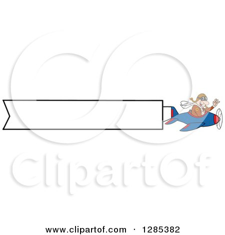 Clipart of a Cartoon Caucasian Male Pilot Waving and Flying an Aerial Plane Banner - Royalty Free Vector Illustration by LaffToon