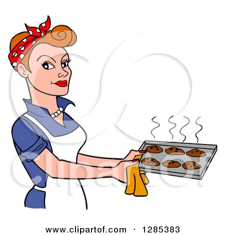 Clipart of a Cartoon Retro Caucasian Woman Holding a Tray of Hot Fresh Cookies - Royalty Free Vector Illustration by LaffToon