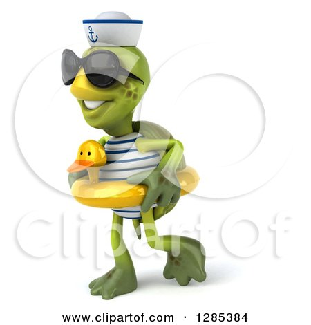 Clipart of a 3d Tortoise Sailor Wearing Sunglasses and Walking to the Left in a Duck Inner Tube - Royalty Free Illustration by Julos