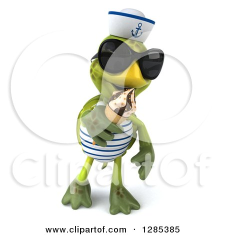 Clipart of a 3d Tortoise Sailor Wearing Sunglasses, Walking and Eating an Ice Cream Cone - Royalty Free Illustration by Julos
