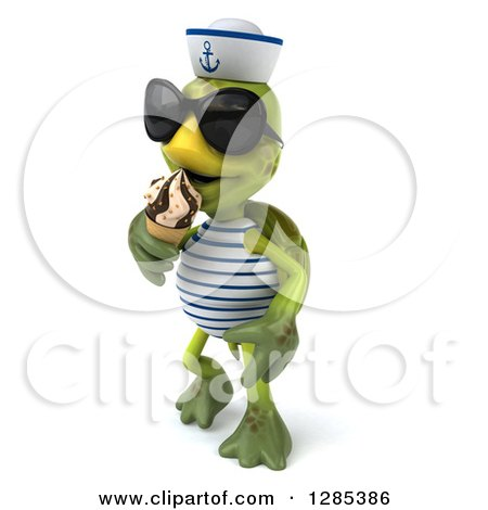 Clipart of a 3d Tortoise Sailor Wearing Sunglasses, Walking Slightly Left and Eating an Ice Cream Cone - Royalty Free Illustration by Julos