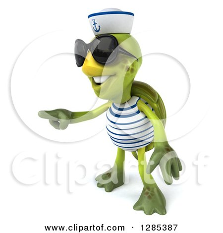 Clipart of a 3d Tortoise Sailor Wearing Sunglasses and Pointing - Royalty Free Illustration by Julos