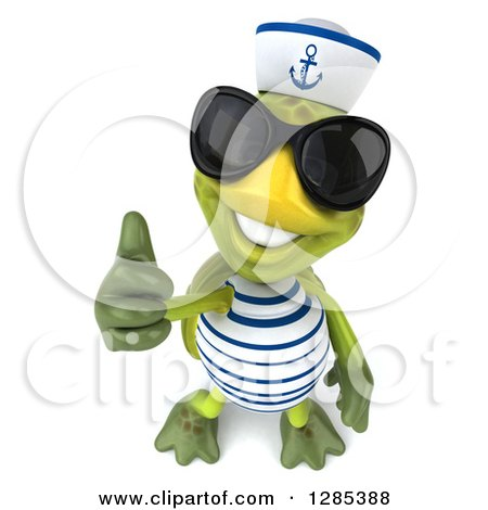 Clipart of a 3d Tortoise Sailor Wearing Sunglasses, Smiling Upwards and Holding up a Thumb - Royalty Free Illustration by Julos