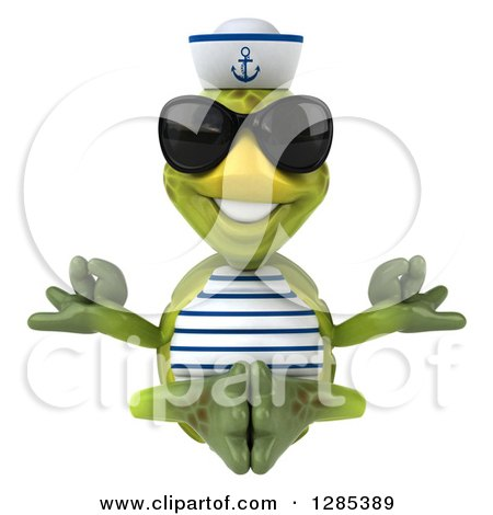 Clipart of a 3d Tortoise Sailor Wearing Sunglasses and Meditating - Royalty Free Illustration by Julos