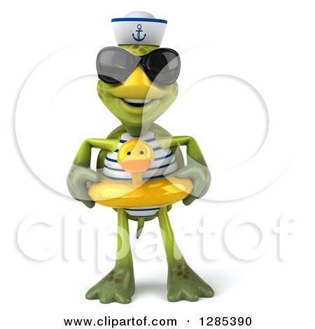 Clipart of a 3d Tortoise Sailor Wearing Sunglasses and Standing in a Duck Inner Tube - Royalty Free Illustration by Julos