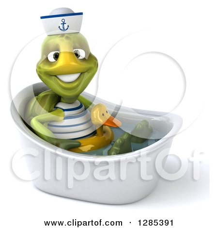 Clipart of a 3d Tortoise Sailor Soaking in a Bath Tub with a Duck Inner Tube - Royalty Free Illustration by Julos
