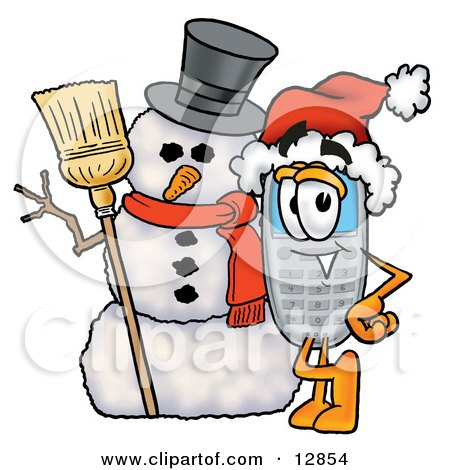 Clipart Picture of a Wireless Cellular Telephone Mascot Cartoon Character With a Snowman on Christmas by Toons4Biz