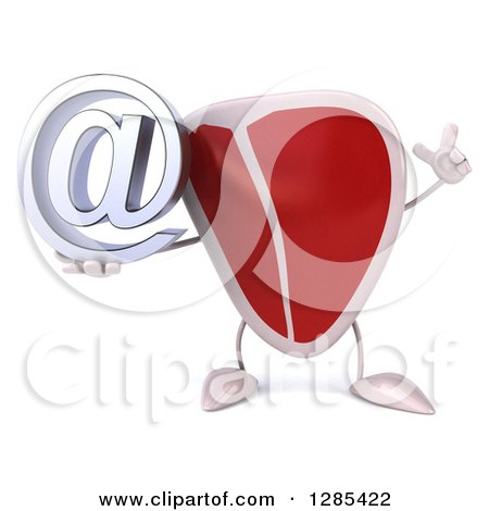 Clipart of a 3d Beef Steak Character Holding up a Finger and an Email Arobase at Symbol - Royalty Free Illustration by Julos