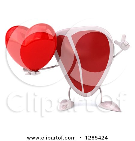 Clipart of a 3d Beef Steak Character Holding up a Finger and a Heart - Royalty Free Illustration by Julos