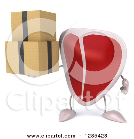 Clipart of a 3d Beef Steak Character Holding Boxes - Royalty Free Illustration by Julos