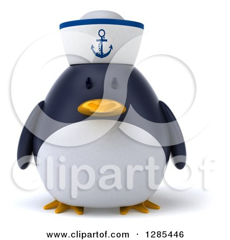 Clipart of a 3d Sailor Penguin - Royalty Free Illustration by Julos