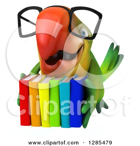 Clipart of a 3d Bespectacled Green Macaw Parrot Flying with Colorful Books - Royalty Free Illustration by Julos