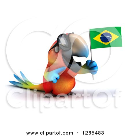Clipart of a 3d Scarlet Macaw Parrot Wearing Sunglasses, Facing Slightly Right, Holding and Pointing to a Brazil Flag - Royalty Free Illustration by Julos