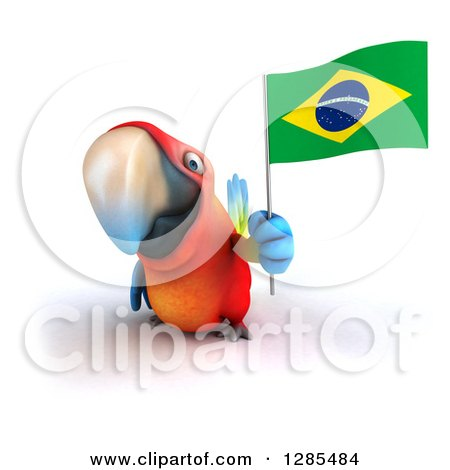 Clipart of a 3d Scarlet Macaw Parrot Holding a Brazil Flag - Royalty Free Illustration by Julos