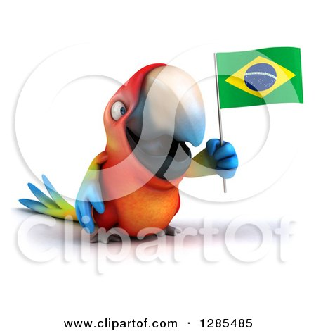 Clipart of a 3d Scarlet Macaw Parrot Facing Slightly Right and Holding a Brazil Flag - Royalty Free Illustration by Julos