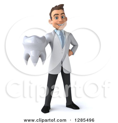 Clipart of a 3d Young Brunette White Male Doctor Holding out a Tooth - Royalty Free Illustration by Julos