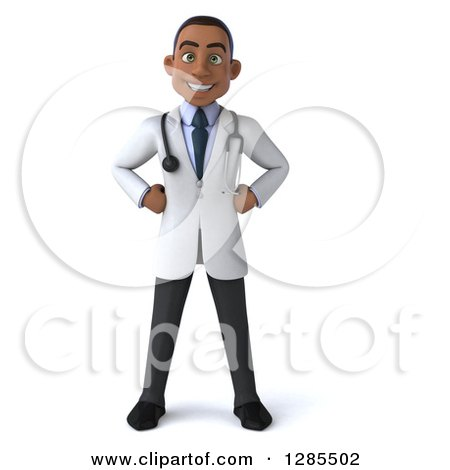 Clipart of a 3d Young Black Male Doctor with Hands on His Hips - Royalty Free Illustration by Julos
