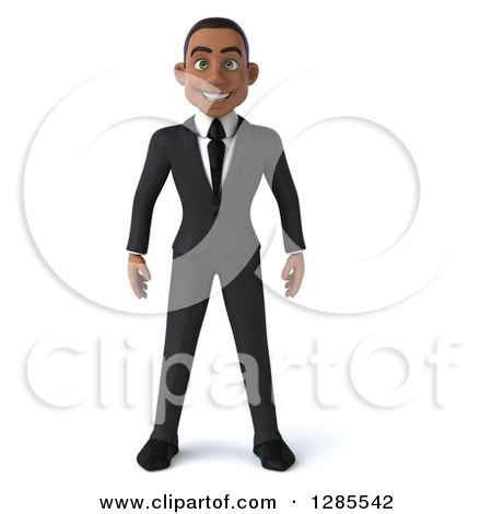 Clipart of a 3d Young Black Businessman - Royalty Free Illustration by Julos