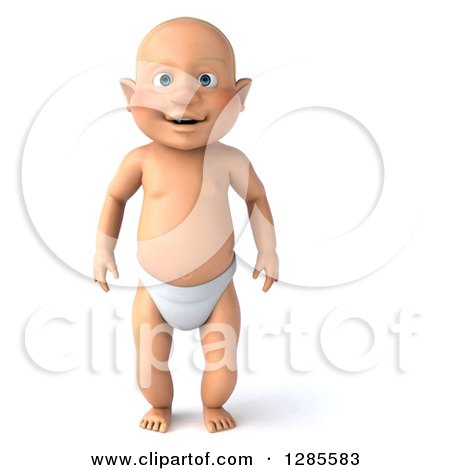Clipart of a 3d Happy White Baby Boy Standing - Royalty Free Illustration by Julos