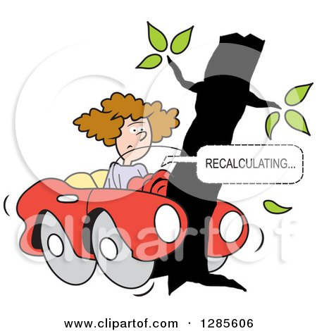 Clipart of a Brunette White Woman with Her Car Wrapped Around a Tree and GPS Navigation Recalculating - Royalty Free Vector Illustration by Johnny Sajem