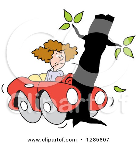Clipart of a Brunette White Woman with Her Convertible Car Wrapped Around a Tree - Royalty Free Vector Illustration by Johnny Sajem