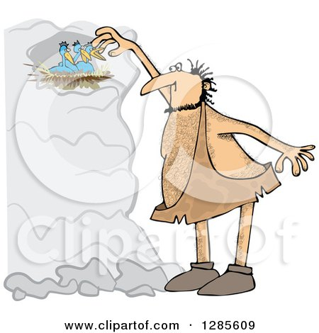 Clipart Cartoon of a Hairy Caveman Reaching for Birds in a Nest - Royalty Free Vector Illustration by djart