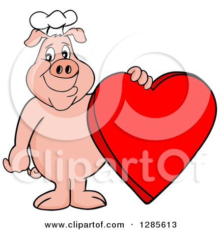 Happy Chef Pig Standing And Holding A Red Valentine Heart By LaffToon