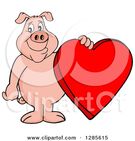 Cartoon Clipart of a Happy Pig Standing and Holding a Red Valentine Heart - Royalty Free Vector Illustration by LaffToon