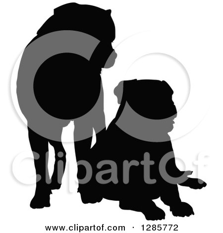 Clipart of Black Silhouetted Mastiff Dogs Standing and Resting - Royalty Free Vector Illustration by Maria Bell