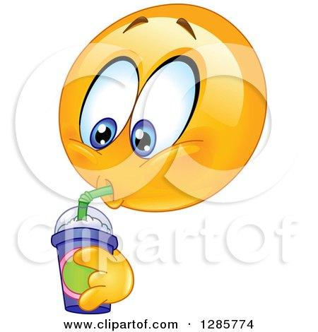 Clipart of a Yellow Smiley Face Emoticon Drinking a Fountain Soda or Slushee - Royalty Free Vector Illustration by yayayoyo