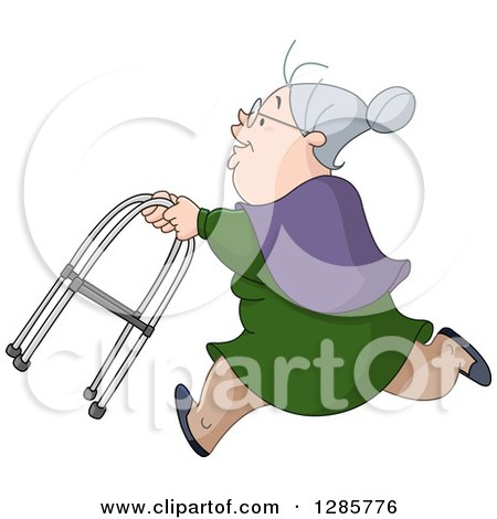 Clipart of a Caucasian Senior Granny Woman Running with a Walker - Royalty Free Vector Illustration by yayayoyo