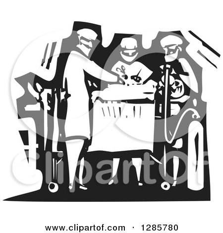 Clipart of a Black and White Woodcut Team of Surgeons Operating on a Patient - Royalty Free Vector Illustration by xunantunich