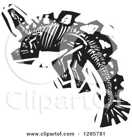 Clipart of a Black and White Woodcut Steagosaur Skeleton - Royalty Free Vector Illustration by xunantunich