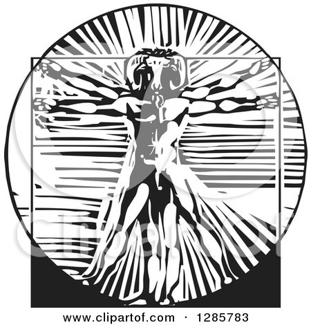 Clipart of a Black and White Woodcut Da Vinci Vitruvian Goat Man - Royalty Free Vector Illustration by xunantunich