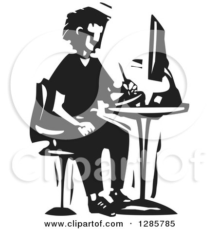 Clipart of a Black and White Woodcut Man Drawing on a Tablet at a Computer Desk - Royalty Free Vector Illustration by xunantunich