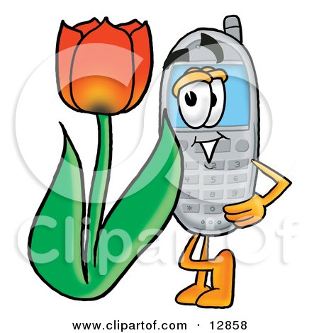 Clipart Picture of a Wireless Cellular Telephone Mascot Cartoon Character With a Red Tulip Flower in the Spring by Toons4Biz