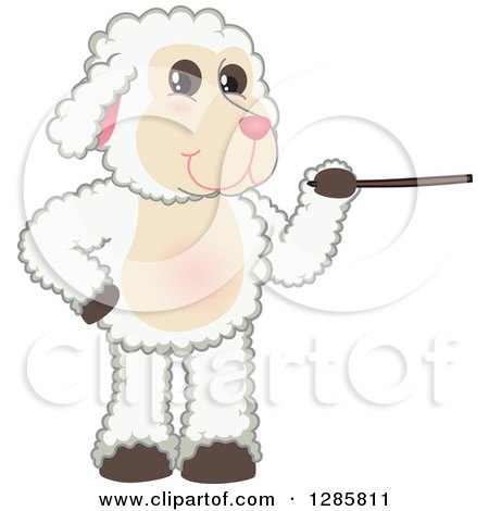 Clipart of a Happy Lamb Mascot Character Using a Pointer Stick - Royalty Free Vector Illustration by Toons4Biz
