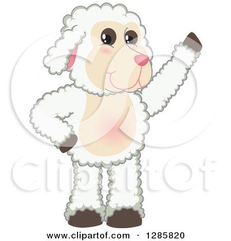 Clipart of a Happy Lamb Mascot Character Waving - Royalty Free Vector Illustration by Toons4Biz