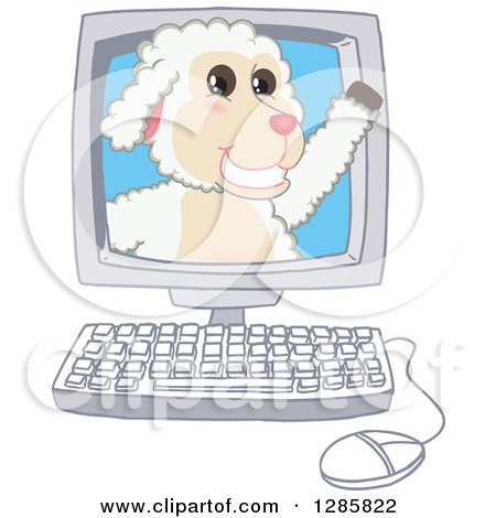 Clipart of a Happy Lamb Mascot Character Waving from a Computer Screen - Royalty Free Vector Illustration by Toons4Biz