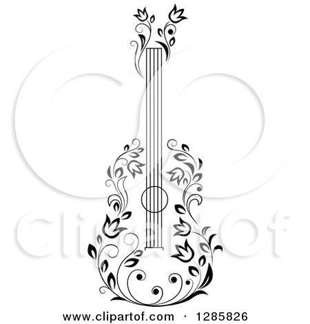 Clipart of a Black and White Floral Guitar 5 - Royalty Free Vector Illustration by Vector Tradition SM
