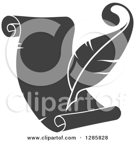 Clipart of a Grayscale Feather Quill Pen Writing on a ...