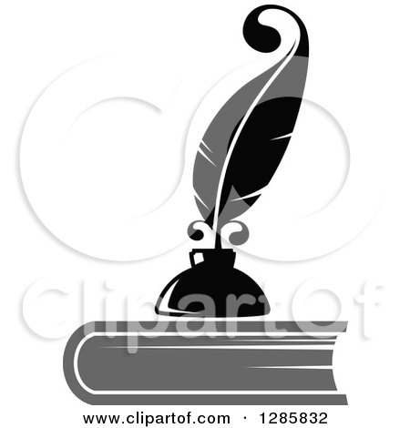 Clipart of a Grayscale Feather Quill Pen and Ink Well on Top of a Book - Royalty Free Vector Illustration by Vector Tradition SM