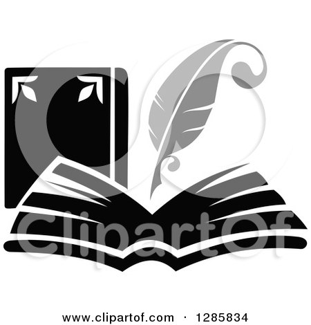 Clipart of a Grayscale Feather Quill Pen Writing in a Book or Journal 3 - Royalty Free Vector Illustration by Vector Tradition SM