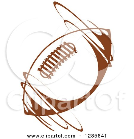 Clipart of a Brown American Football Spinning - Royalty Free Vector Illustration by Vector Tradition SM