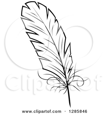 Clipart of a Black and White Feather 7 - Royalty Free Vector Illustration by Vector Tradition SM