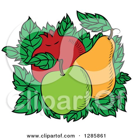 Clipart of a Bed of Leaves with a Green Apple, Pear and Pomegranate - Royalty Free Vector Illustration by Vector Tradition SM