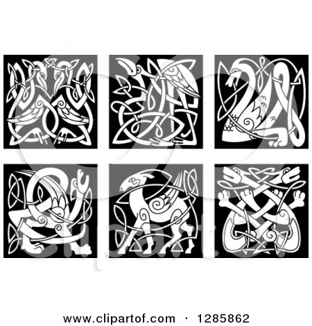 Clipart of Black and White Celtic Knot Animals - Royalty Free Vector Illustration by Vector Tradition SM
